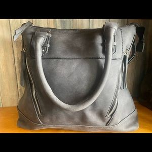 Gray Suede Mid-size Purse